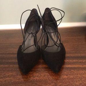 Stuart Weizmann BeAGirl black suede heels NIB